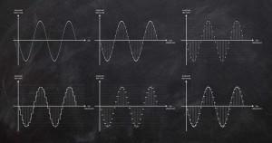 Analog-Digital-Wandlung bzw. Digital-Analog-Wandlung - Künstlerische Darstellung von Wellenformen
