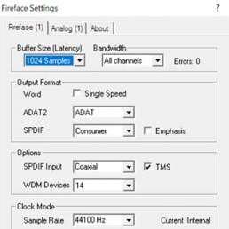 Bild der Buffereinstellungen bei einem Audio-Interface
