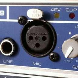 Der Mikrofon-Preamp (Vorverstärker) - Bild eines Mikrofoneinganges an einem Audio-Interface